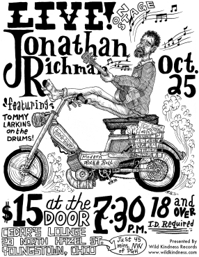 Jonathan Richman Concert Flier curated by Wild Kindness Records 2011